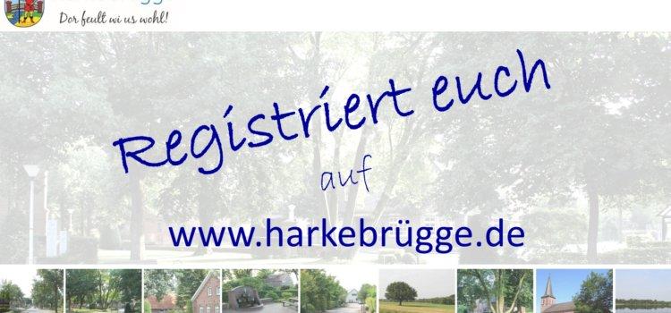 Registriert euch auf www.harkebrügge.de